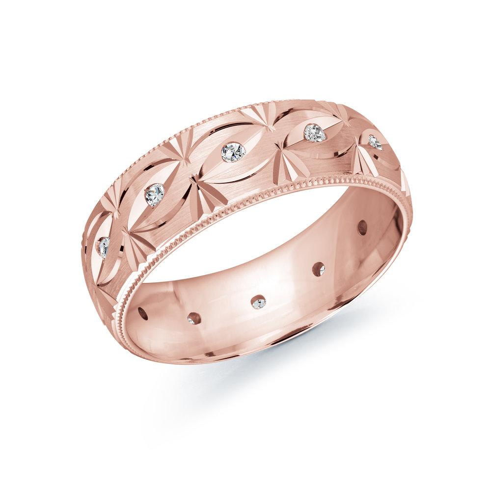 Pink Gold Men's Ring Size 7mm (JMD-827-7P18)